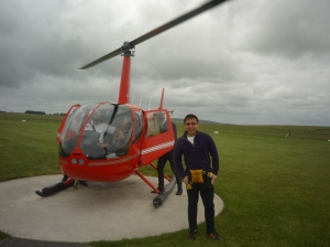 Posing With The Chopper After Landing At The Airfield