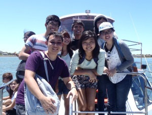 On Board The Scenic Cruise. Clockwise from top left: Daniel, Kuo Xian, Yi Heen, Huiqin, Zhuojia, Li Kim, Myself