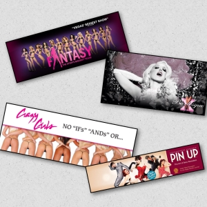 Clockwise from top left: Fantasy (Luxor), X Burlesque (Flamingo), Pin Up (Stratosphere), and Crazy Girls (Riviera)