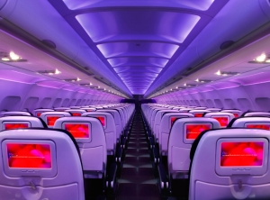 The cabins in Virgin America features mood lighting