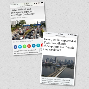 The Straits Times and CNA had warned of heavy traffic at the checkpoints for the long weekend
