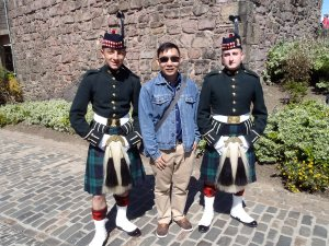 With the guards from the Royal Regiment of Scotland