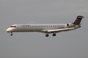 An Eurowings Bombardier CRJ, similar to the one I flew from Düsseldorf to Stockholm