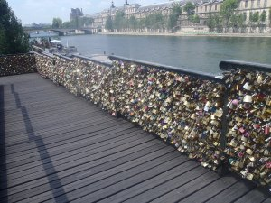 Despite the #lovewithoutlocks campaign, symbols of love could still be found on the bridge