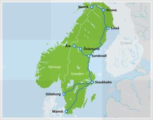 SJ connects Stockholm to Kiruna and Narvik up north